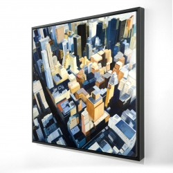 Framed 24 x 24 - 3D - Manhattan view of the empire state building