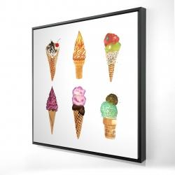 Framed 24 x 24 - 3D - Ice cream cones