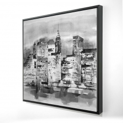 Framed 24 x 24 - 3D - Watercolor cityscape with buildings