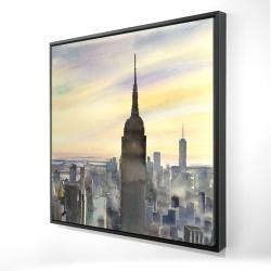 Framed 24 x 24 - 3D - Sunset over new york city