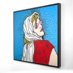 Framed 24 x 24 - 3D - Pop art woman