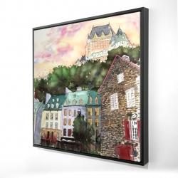 Framed 24 x 24 - 3D - Château frontenac in the petit champlain