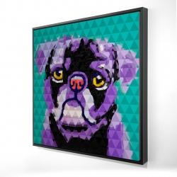Framed 24 x 24 - 3D - Geometric pug