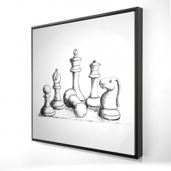 Framed 24 x 24 - 3D - Chess game pieces
