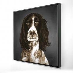 Framed 24 x 24 - 3D - Brown english springer spaniel