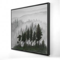 Framed 24 x 24 - 3D - Mountains landscape in dark watercolor