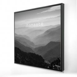 Framed 24 x 24 - 3D - Namaste monochrome
