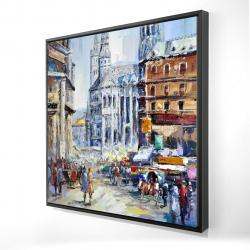 Framed 24 x 24 - 3D - Busy street by a sunny day 1