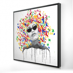 Framed 24 x 24 - 3D - Woman street art pop