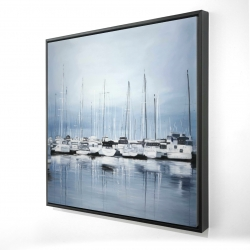 Framed 24 x 24 - 3D - Boats at the dock 2