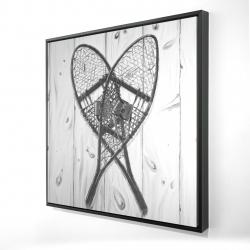 Framed 24 x 24 - 3D - Vintage monochrome wood snowshoes