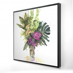 Framed 24 x 24 - 3D - Tropical flower assemblage