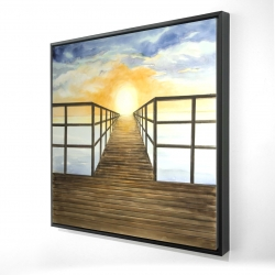 Framed 24 x 24 - 3D - Sunset in the sea