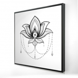 Framed 24 x 24 - 3D - Ethnic lotus ornament