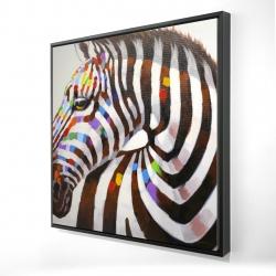 Framed 24 x 24 - 3D - Colorful zebra