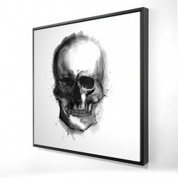 Framed 24 x 24 - 3D - Watercolor dark skull