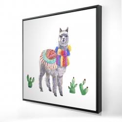 Framed 24 x 24 - 3D - Traditional peruvian lama