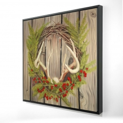 Framed 24 x 24 - 3D - Christmas wreath with panache