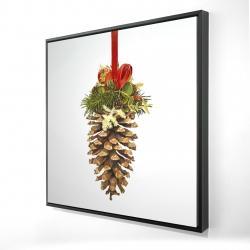 Framed 24 x 24 - 3D - Christmas pine cone