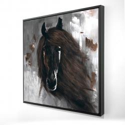 Framed 24 x 24 - 3D - Dark brown horse