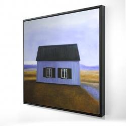 Framed 24 x 24 - 3D - Blue barn