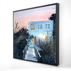 Framed 24 x 24 - 3D - Beach house