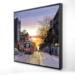 Framed 24 x 24 - 3D - Sunset streetscape to toronto