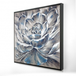 Framed 24 x 24 - 3D - Gray and blue flower