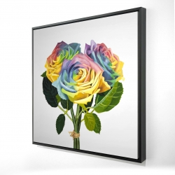 Framed 24 x 24 - 3D - Bouquet of rainbow roses