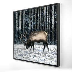 Framed 24 x 24 - 3D - Caribou in the winter forest