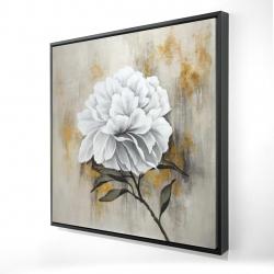 Framed 24 x 24 - 3D - White peony