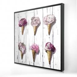 Framed 24 x 24 - 3D - Peony cones