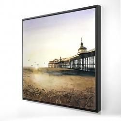 Framed 24 x 24 - 3D - Sunset at the beach