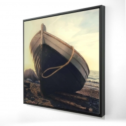 Framed 24 x 24 - 3D - Rowboat at the water's edge