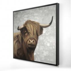 Framed 24 x 24 - 3D - Desaturated highland cattle