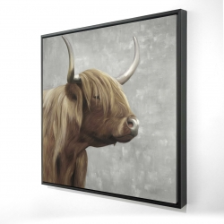 Framed 24 x 24 - 3D - Beautiful desaturated higland cattle
