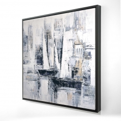 Framed 24 x 24 - 3D - Industrial style sailboats