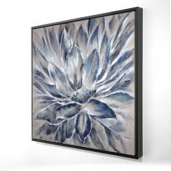Framed 24 x 24 - 3D - Blue and gray flower