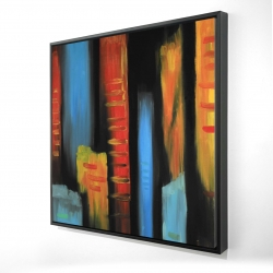 Framed 24 x 24 - 3D - Abstract and colorful tall buildings