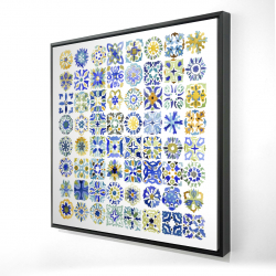 Framed 24 x 24 - 3D - Watercolor traditional moroccan tiles
