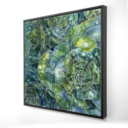Framed 24 x 24 - 3D - Abstract succulents