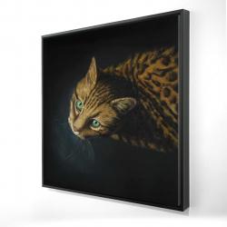Framed 24 x 24 - 3D - Bengal cat