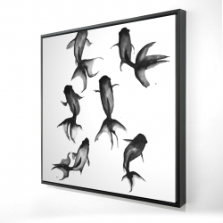 Framed 24 x 24 - 3D - Black fishes