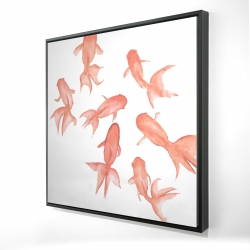 Framed 24 x 24 - 3D - Small black fishes