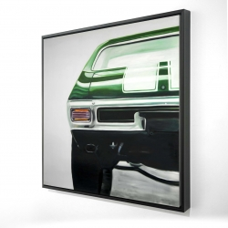 Framed 24 x 24 - 3D - Classic dark green car