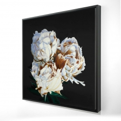 Framed 24 x 24 - 3D - Blooming peonies