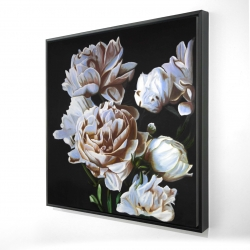 Framed 24 x 24 - 3D - Peonies