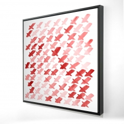 Framed 24 x 24 - 3D - X red pattern