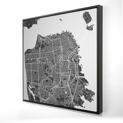Framed 24 x 24 - 3D - San francisco city plan