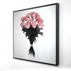 Framed 24 x 24 - 3D - Bouquet of coral roses